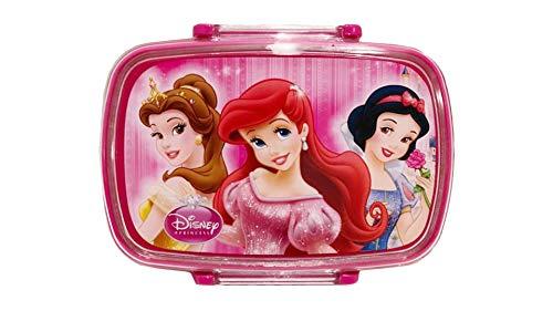 Fiambrera infantil con cuchara de plástico y tenedor, ideal para la escuela (princesa de Disney)