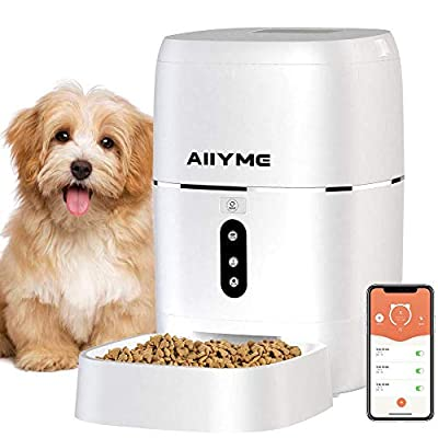 AIIYME Automatic Dog Cat Feeder, 2.4G WiFi Enabled 6L Smart Food Dispenser for Cats and Small Dogs with App Control, Timer Programmable, Portion Control and Voice Recorder Up to 8 Meals per Day