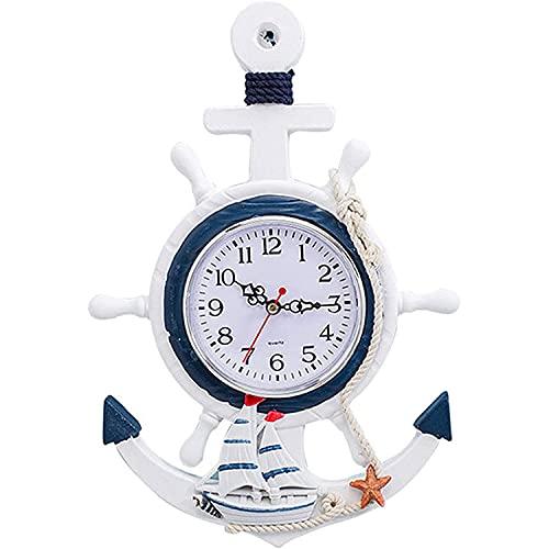 YHNMK Reloj de Pared de Madera, Decoración Marinera, Ancla Madera Pared Reloj, Diseño Marítimo, Reloj de Pared Mediterráneo, Diseño de Barco Pirata