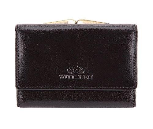 WITTCHEN Geldbörse aus Leder | Kollektion: Italy | mit Druckknopfverschluss | aus hochwertigen Materialien | elegant und klassisch | Schwarz | 11x8 cm