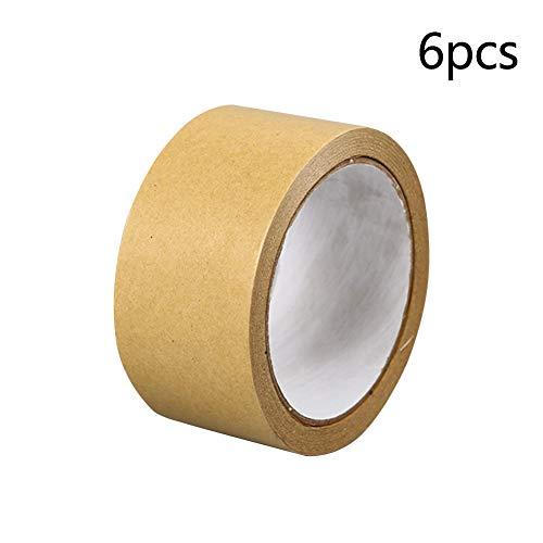 Braunes Papierklebeband, 6 Stück, einfach abreißbar, breite Abdeckkarton-Versiegelung, starker Klebstoff, hitzebeständig, für Zuhause, Mehrzweck, wasserfest, selbstklebend, Wie abgebildet, 24 mm