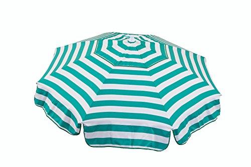 Heininger 1390 DestinationGear Italian Jade Green and White 6' Acrylic Striped Patio Pole Umbrella