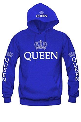 Women Couple Sweatshirt Matching King Queen Pullover Hoodies 1 Pcs Bluequeen L