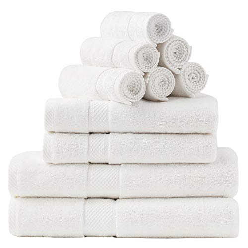 Bedsure White Bath Towels Set for Bathroom, Combed Cotton Bath Towel Sets - 10 Pack, 2 Large Bath Towels 27x54, 2 Hand Towels 16x30, 6 Wash Cloths 13x13, Absorbent & Soft