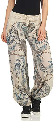 malito dames Pofbroek met opdruk | comfortabele vrijetijdsbroek | lichte stoffen broek incl. riem | Harembroek - nonchalant 3485 (beige)