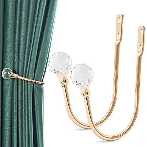 Gudui Curtain Holdbacks, Crystal Curtain Tieback Hooks for Drapes Gold Curtain Holdbacks Holders for Wall Decorative Metal Drapery Hooks Window Treatment Holdbacks Set of 2