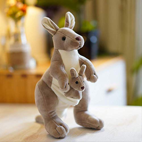 pluche knuffels,Leuke Australische Kangoeroe Knuffel Moeder En Kind Kangoeroe Pop Simulatie Dier Pop Ouder-kind Pop Verjaardagscadeau 28 cm Lichtgrijs