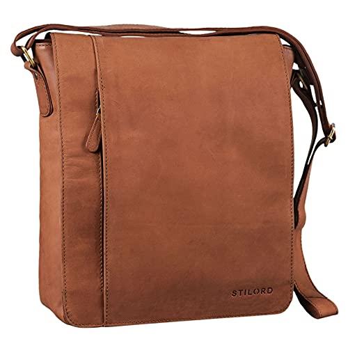 STILORD \'Paul\' Umhängetasche Herren Leder Hochformat Messenger Bag im Vintage Design Ledertasche für 13,3 Zoll MacBook iPad DIN A4 Herrentasche Echtleder, Farbe:Sattel - braun