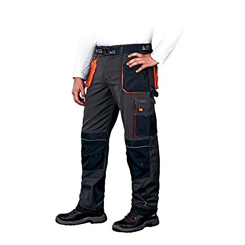 Leber&Hollman Canver - Pantalones de Trabajo - Pantalon de Seguridad de Hombre - con Bolsillos para Rodilleras - Pantalónes Elasticos Multibolsillos, Negro y Naranja, talla 48 alemana