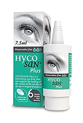 Hycosan Plus - Preservative Free Eyedrops - 0.1% Sodium Hyaluronate and 2% Dexpanthenol to Aid in The Natural Healing of a Damaged Eye Surface Due to Surgery, Injury or Dry Eyes - 7.5ml