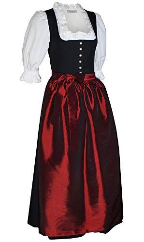Kaiser Franz Josef Dirndl Steppmieder-Tracht schwarz mit Schürze dunkelrot Balkonett Dirndlkleid schwarz Ziernaht Kleid auch ohne Schürze tragbar Trachtenkleid Made in Austria, Größe:36