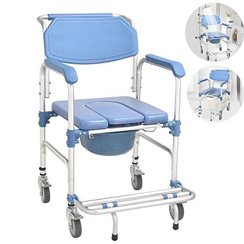 EJOYDUTY 3-in-1 Medical Leichtgewichtrollstuhl aus Aluminium Badezimmer Dusche Stuhl, KopfendeCommode für alte Leute Patient, feststellbare Rollen und dick gepolsterter Sitz, Rollstuhl über WC