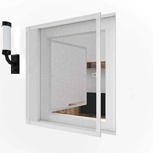 80 x 100 cm Fliegengitter Fliegenschutz Insektenschutz Fliegenschutzgitter mückengitter gitter moskitonetz Spannrahmen für Fenster mit Aluminium Rahmen ohne Bohren und Schrauben, Weiß