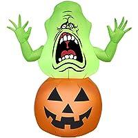 Gemmy Halloween Inflatable 4 1/2' Slimer in Pumpkin
