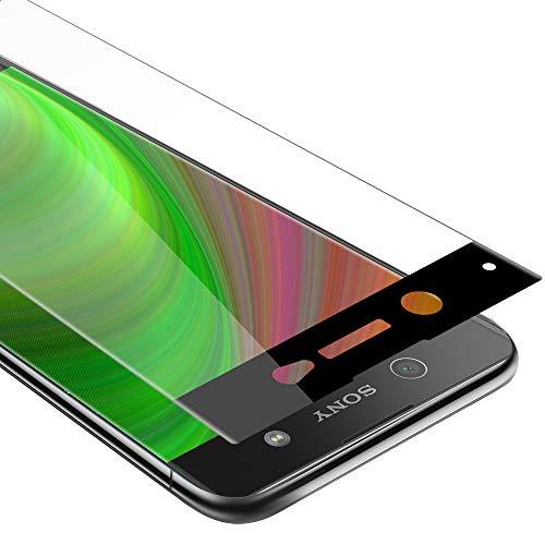 Cadorabo Película Protectora para Sony Xperia XA Ultra en Transparente con Negro - Pantalla de Vidrio Templado Cobertura Completa (Tempered) Compatible 3D con Dureza 9H