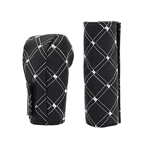 Handbremse Abdeckung Sleeve Kunstleder Auto Schaltknauf Bezug-Set Automotive Interior-Stickerei-Entwurf mit White Line Autozubehör Dekoration Schutzhülse
