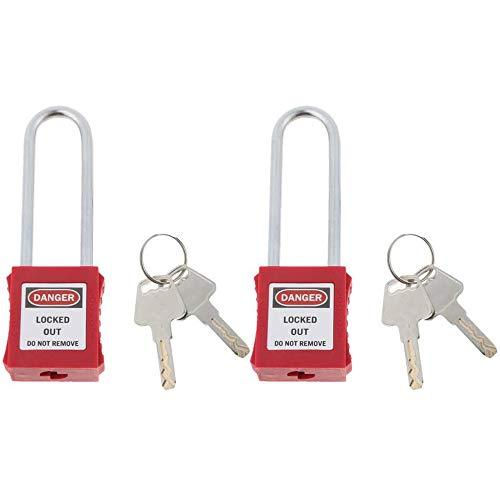 POFET 2pcs seguridad bloqueo candado con llave diferente y etiqueta, PA acero inoxidable, rojo