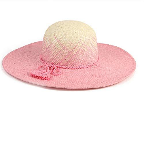 Mzdpp Hut-Rosafarbener Steigungs-Strandhut des Sommers Neuer Sonnenblendensonnenschutz-Strohhut Breitrandiger Hut
