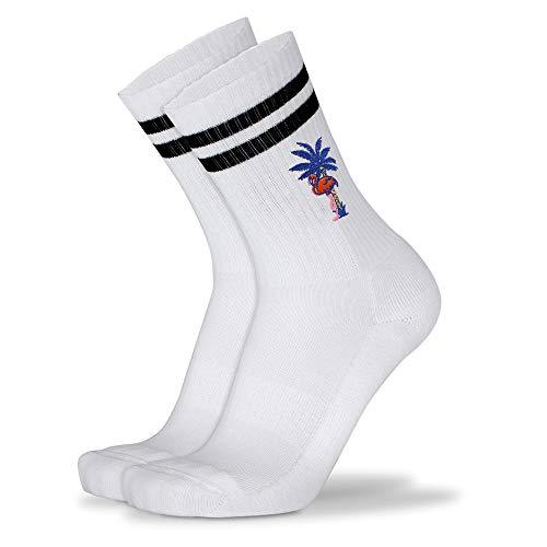 Mofreso Herren & Damen Retro Socken weiss mit Streifen und edler Stickerei - Bingo Flamingo - Baumwolle, fair produziert - Atmungsaktiv, angenehmes Tragegefühl - 1 Paar - 43-46