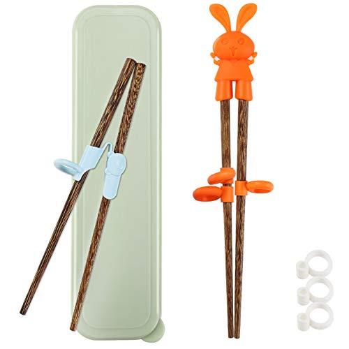 TOTKEN Lot de 2 paires de baguettes d'apprentissage en bois pour enfants débutants, main droite ou gauche avec boîte portable