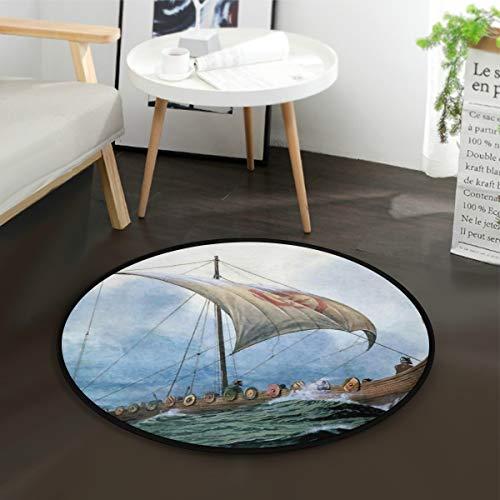 LUPINZ Cool Vikings Drachenboot rund rutschfester Bereich Teppich Cool Vikings Drachenboot Teppich Fußmatte für Zimmer