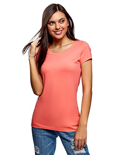 oodji Ultra Damen Tailliertes T-Shirt Basic, Rosa, DE 38 / EU 40 / M