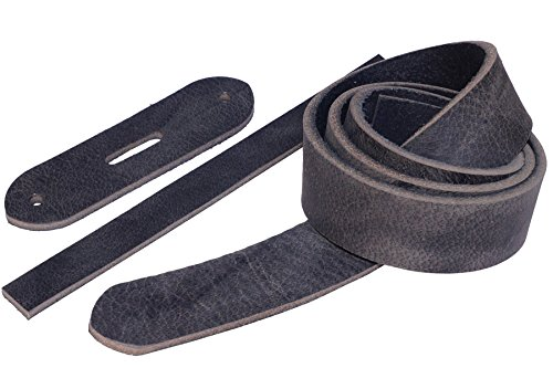 Leder Gürtelrohling Texas mit Kappteil/Schlaufe, Büffelleder Gürtel-Rohling, Farbe:dunkelgrau, Breite:34mm