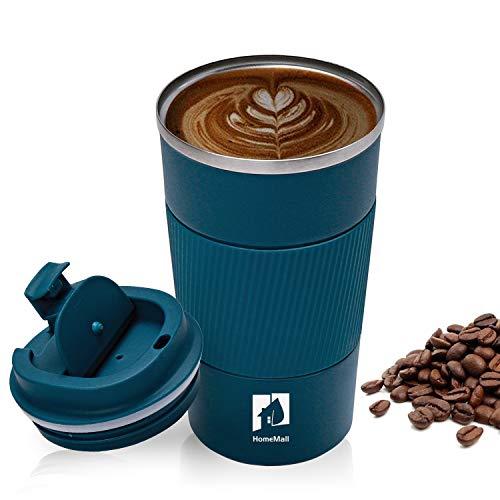 HomeMall Thermobecher, Kaffeebecher to go Becher, 510ml Vakuum Auslaufsicher Reisebecher mit Deckel, Edelstahl Isolierbecher Kaffeebecher für unterwegs-Blau