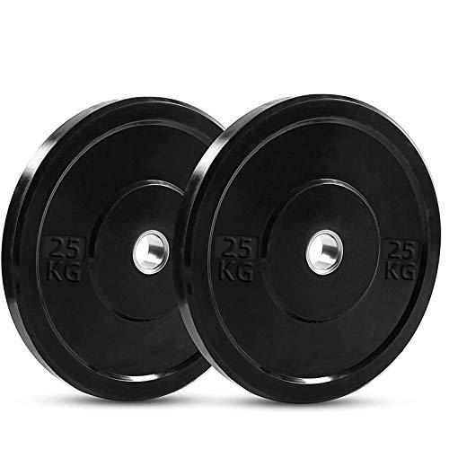 PINROYAL Bumper Plates Oplympic Weight Plates, Bumper Weight Plates, High Elastic Barbell Weighted Plates Olympic Bumper Plates for Strength Training Strength (Pair) (55)
