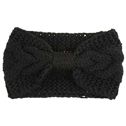 Women's Knitted Turban Headband Ear Warmer Head Wrap Winter Warm Wide Hair Accessories Twisted Knitting Hairband (Black)