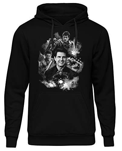 Uglyshirt89 Tom Cruise Herren Kapuzenpullover   Tom Cruise Pullover - Mission Impossible Hoodie (Schwarz / Druck: Weiß, 3XL)