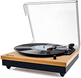 Record Player, Popsky Vintage Turntable 3-Speed Bluetooth Record Player with Speaker, Portable LP Vinyl Player, RCA Jack, ...