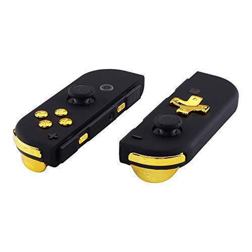 eXtremeRate D-Pad de ABXY Botón SR SL L R ZR ZL Disparador Dirección y Resorte Botones de Reemplazo para Nintendo Switch JoyCon(D-Pad Solo Compatible con Carcasa joycon-versión D-Pad Oro Cromado