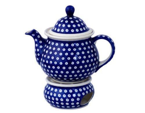 Original Bunzlauer Keramik Teekanne mit Stövchen 1.7 Liter im Dekor 42