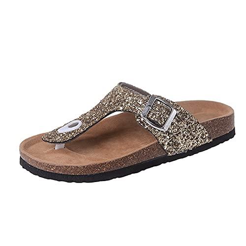 joyvio CRGSM Sandalias Planas para Mujer, Plantilla cómoda, Diapositivas Ajustables, Doble Hebilla, Deslizamiento en Zapatillas de EVA (Color : Gold, Size : EU:37/UK:4.5/US:6)