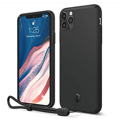 "elago iPhone 11 Pro Max Slim Fit Strap Case 6.5""  Black  - Slim, Light, Simple Design, Matte Coating, Anti-Slip, Raised Lip, Attachable Strap and Button, Fit Tested [Made in Korea]"