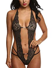 Likela Lingerie Sexy Lace Babydoll Bralette Deep V Biancheria delle Sexy Lingerie Hard Taglie Forti Sexy Donna Lingerie Sexy Pizzo Hot Intimo Donna Halter Lingerie