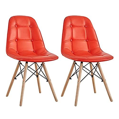 LYMHGHJ Sedie da Pranzo Cuscino in Pelle PU Imbottito in Stile Moderno Sedia Imbottita con Gambe in Legno massello Set di 2 sgabelli (Colore : Rosso)