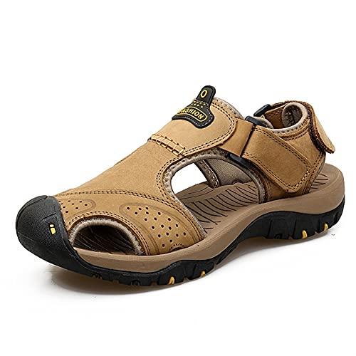 LINGYANMM Sandalia de verano para hombres Cloofed Steel Toe Multi Gloss Arch Soporte de arco Corte de gancho Correa de bucle Aire Libre Billipers Capper Zapatos Resistentes a la resistencia