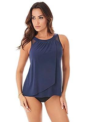 Miraclesuit Women's Swimwear DD-Cup Illusionist Ursula Underwire Bra Mesh Inset Tankini Bathing Suit Top, Midnight, 14DD