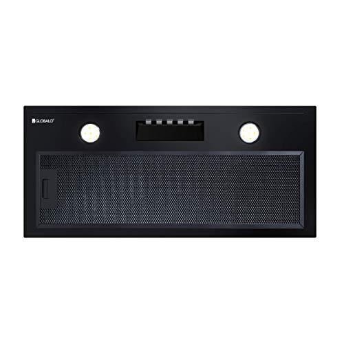 GLOBALO Campana extractora empotrable para cocina, ventilador plano, con iluminación, ancho de montaje de 60 cm, 3 niveles de potencia, acero lacado, Nowimo 60.1, color negro