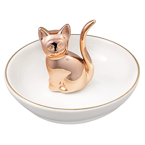 Cat Ring Holder and Trinket Tray Ceramic Jewelry Dish Home Decor Rose Gold
