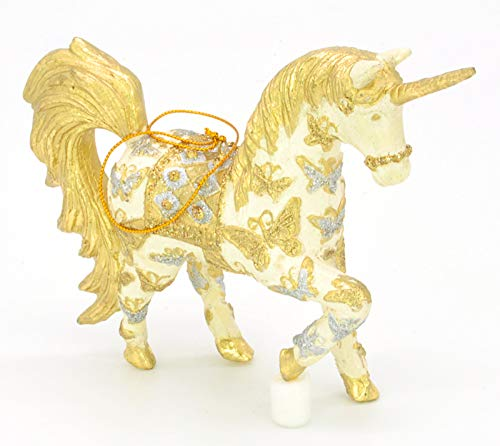 Bezauberndes Einhorn, Deko Hänger gold/creme, Verzierungen, Christbaumschmuck 15 cm
