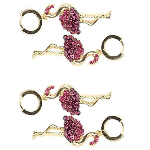 KUIDAMOS 2 Pares de Hermosos y Elegantes aretes de Diamantes con Forma de Flamenco y Colgantes, Todo a Juego, decoración de Orejas a la Moda para Mujeres/niñas, joyería de aleación