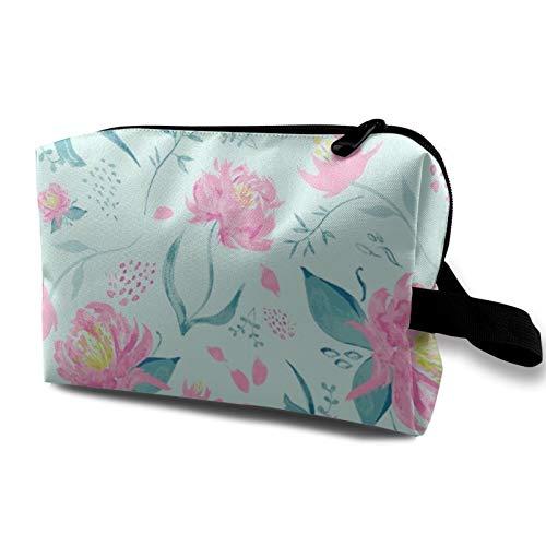 Aqua Watercolour Florals Toiletry Bag Cosmetic Bag Portable Makeup Pouch Travel Hanging Organizer Bag for Women Girl 10x5x6.2 inch
