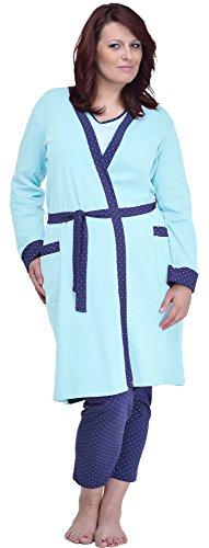 Merry Style Batas Tallas Grandes Plus Size Ropa de Cama Interior Lencería Mujer 484 (Turquesa, XXL)