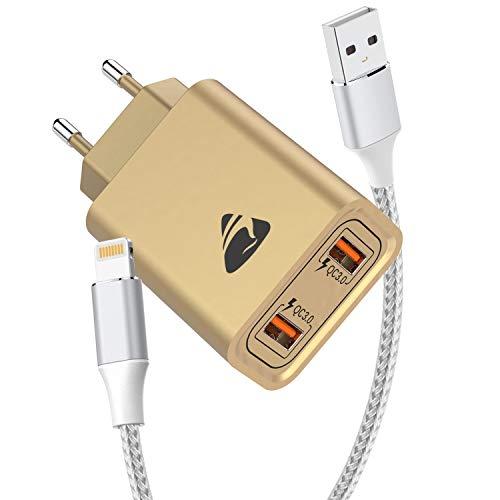 USB Ladegerät mit iPhone Ladekabel [2Stück 1M+2M], 2 Port 3.0 A USB Netzteil Ladeadapter Lightning Kabel Schnellladekabel für iPhone 12 Pro Max Mini 11 Pro XR XS X 10 8 7 6 6S 5s SE 2020, iPad, iPod