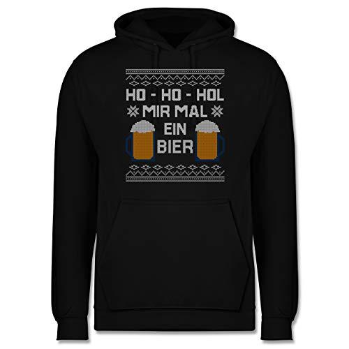Weihnachten & Silvester - Ho Ho HOL Mir mal EIN Bier - XL - Schwarz - Statement - JH001 - Herren Hoodie und Kapuzenpullover für Männer
