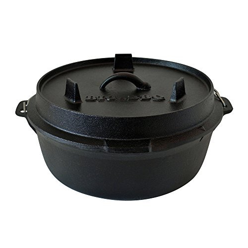 Big BBQ High-Quality Dutch Oven / Cast Iron Cooking Pot with Lid Lifter / with and without Legs, 10er - 4.5qt by ToCi