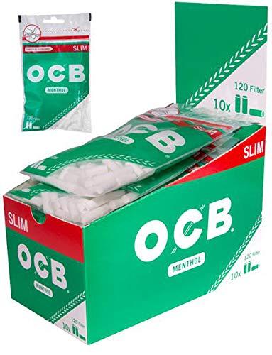 Zigarettenfilter OCB Slim Menthol 10 Beutel à 120 Drehfilter